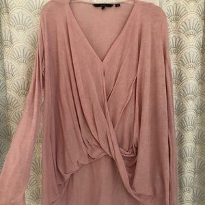 Pale pink, high low long sleeve